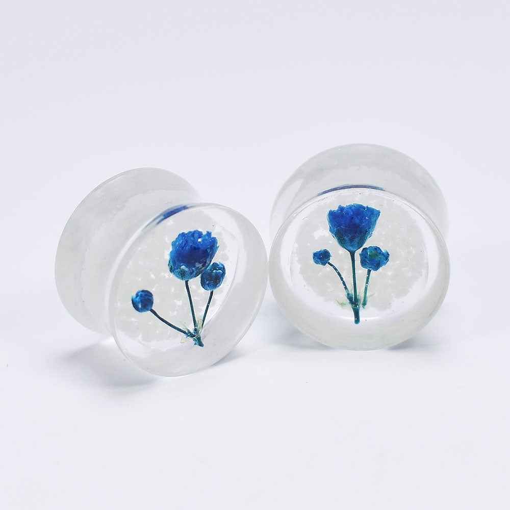 2Pcs Blue Flower Luminous Acrylic Ear Gauges Plugs Earlets Flesh Tunnel Ear Piercing Earring