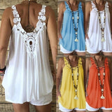 Women Fashion Trend Loose Casual Sleeveless V-neck Lace Stitching Blouse Vest Tank Tops
