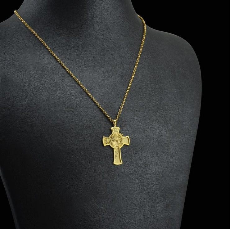 Holy 925 Sterling Silver Devout Cross Pendant INRI Engraved 18K Solid Gold Jesus Christ Necklace Religious Savior Christian Accessories Pray God Bless You Birthday Present Christmas Gift Iesus Nazarenus Rex Iudaeorum Chain Pendants