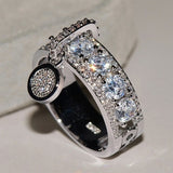 New Fashion Charm Women's Diamond Dangle Ring 925 Sterling Silver Ring Ladies Wedding Jewelry Size 5-11