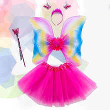 Load image into Gallery viewer, 4Pcs Girls Fairy Costume Set Rainbow Butterfly Wings Double Layers Tulle Tutu Skirt Wand Headband Princess Halloween Party 3-8T THO