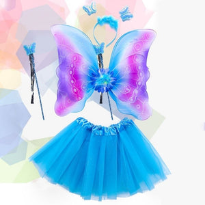 4Pcs Girls Fairy Costume Set Rainbow Butterfly Wings Double Layers Tulle Tutu Skirt Wand Headband Princess Halloween Party 3-8T THO