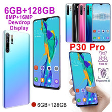 Load image into Gallery viewer, P30 Pro 6.3''Full Screen 6GB RAM 128GB ROM Android 9.0 10 Core Unlocked Smartphone Face/Fingerprint Unlock 8MP+16MP HD Camera Bluetooth GPS 3G WCDMA 4G Smart Phones