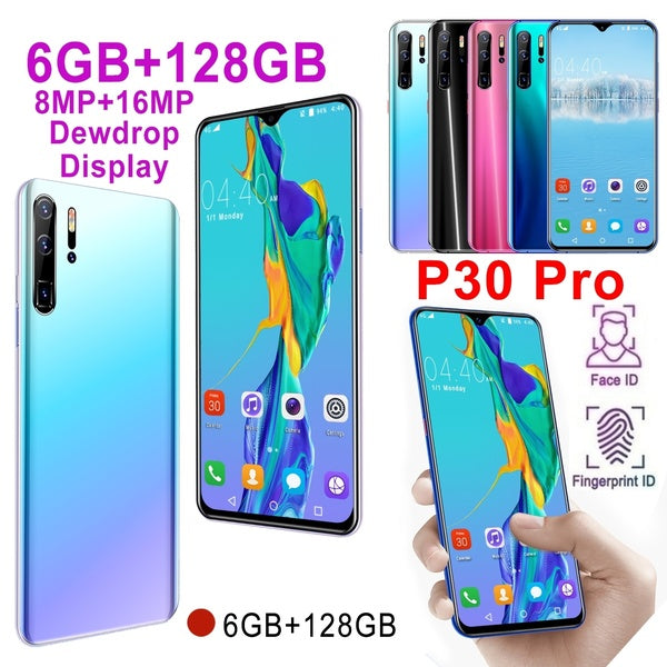 P30 Pro 6.3''Full Screen 6GB RAM 128GB ROM Android 9.0 10 Core Unlocked Smartphone Face/Fingerprint Unlock 8MP+16MP HD Camera Bluetooth GPS 3G WCDMA 4G Smart Phones