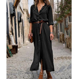 2019 Fashion Autumn and Winter New Long-sleeved Split Skirt Women Long Casual  Daily Button Shirt Dress Plus Size Tops 6 Colors