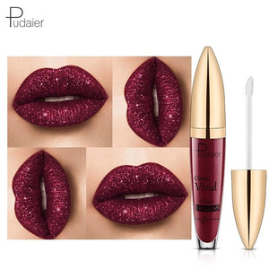 Pudaier Sexy Colors Changing Glitter Lipstick Liquid Metallic Lip Gloss Diamond Waterproof Pearl Lipgloss Women Lip Makeup L¨¢piz Labial Batom