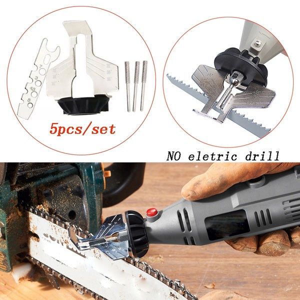 5pcs/set Electric Grinder Chain Saw Sharpening Attachment Sharpener Guide Drill Adapter Rotary Mini Drill Power Tool(no Electric drill)