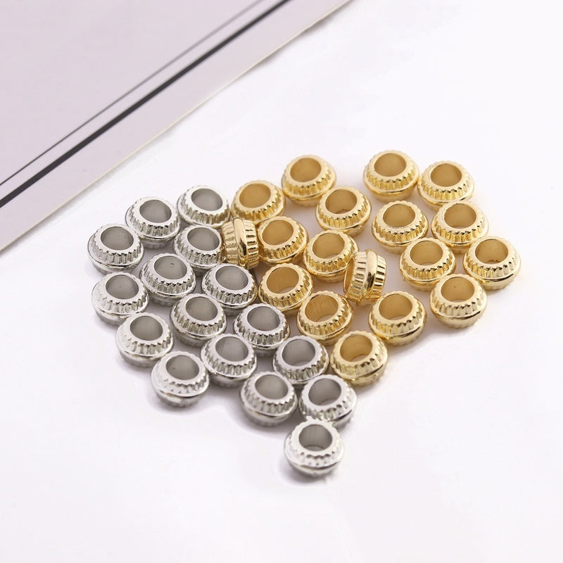Linsoir Beads 200PCS CCB Spacer Beads Gold Silver Large Hole Beads for DIY  Jewelry Findings