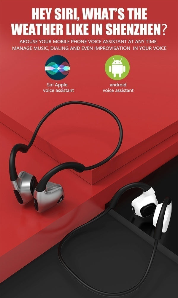 Bluetooth5.0 Bone Conduction Stereo Hands-free Bluetooth Headphones with Mic for Running, Sport, Workout