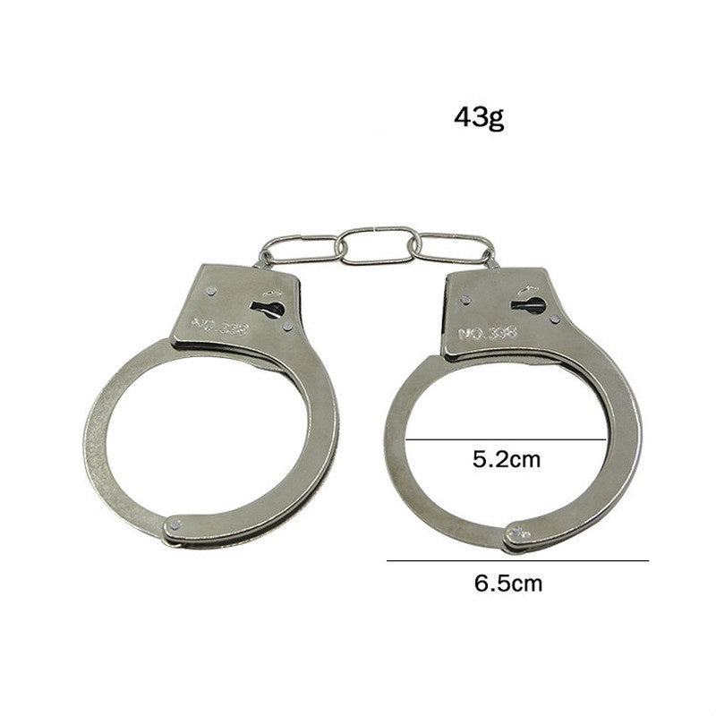 Pretend Play Silver Metal HandCuffs With Keys Police Role Cosplay Tools Police Toy For Children