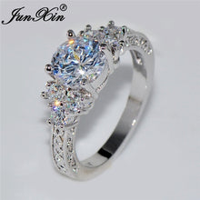 Load image into Gallery viewer, Junxin 5.80/ct Lab diamond White Sapphire Wedding Ring 10KT White Gold Jewelry Size 4-12