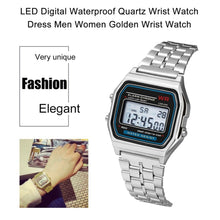Load image into Gallery viewer, Fashion Vintage LED Digital Watch Stainless Steel Strap Alarm Wrist Watch Dress Business Wrist Watch For Men Women