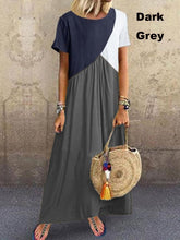 Load image into Gallery viewer, NEW Womens Short Sleeves Round Neck Color Block Plus Size Summer Swing Long Dresses