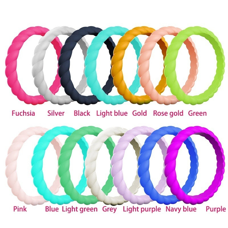 1Pc Silicone Wedding Ring For Women Thin Braided Rubber Wedding Bands For Men Women Sports Active Fitness Riding Climbing Work