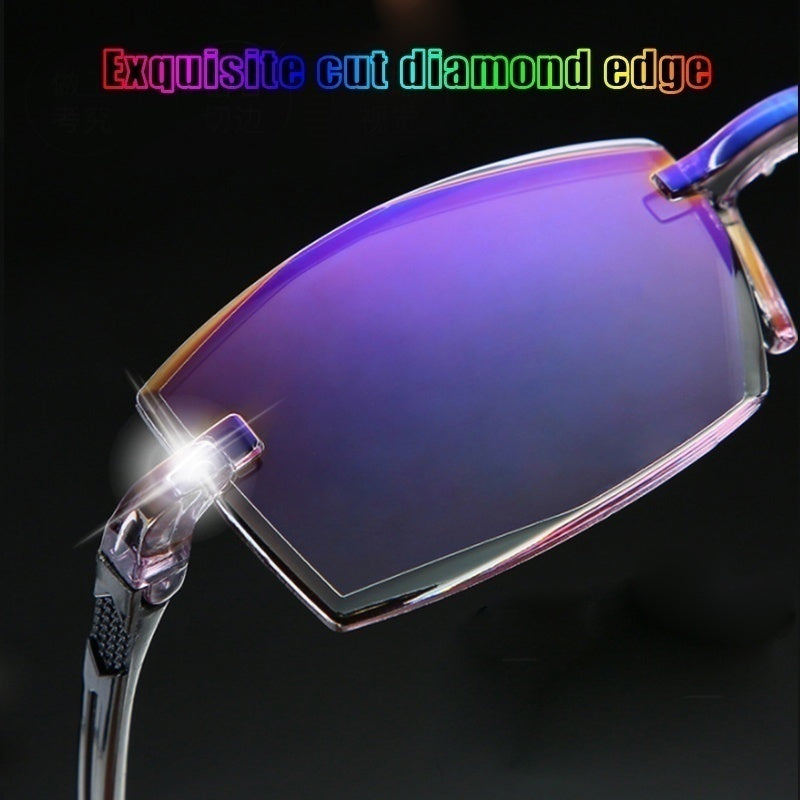 1pc New Rimless Diamond-cut Reading Glasses Anti-blue Light and Blue Film Integrated for Women Men  +1---+4 Full Degree