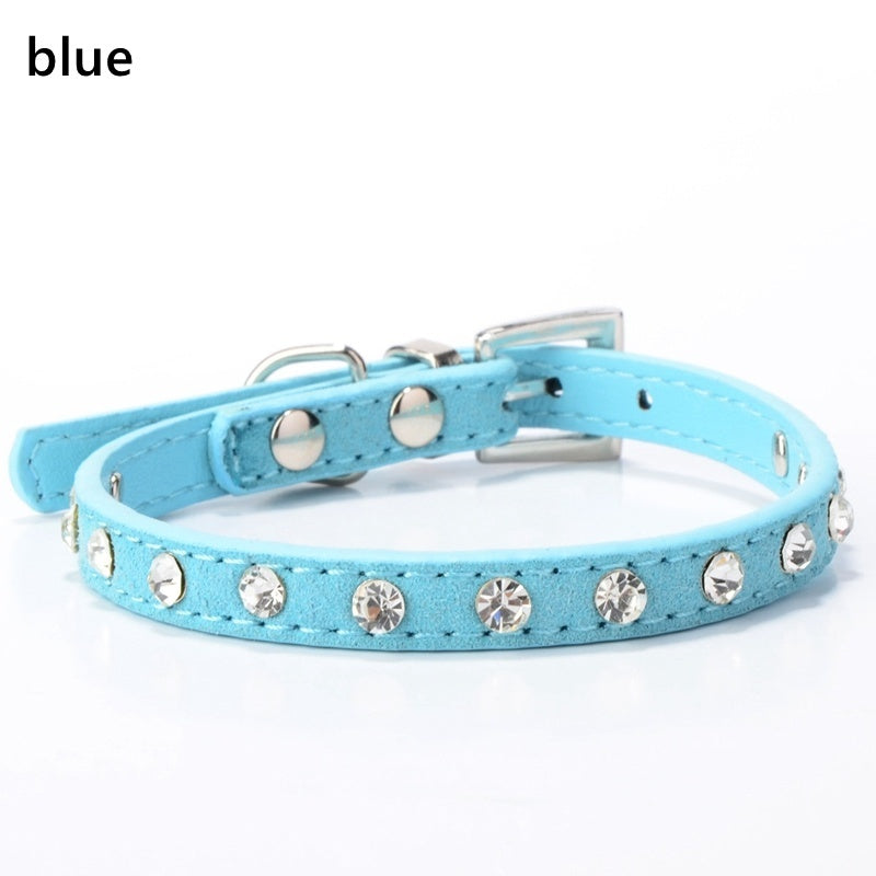 5 Colors Small Dog Collar Crystal Soft Pu Leather Adjustable Puppy Cat Collars Necklace Neck Strap