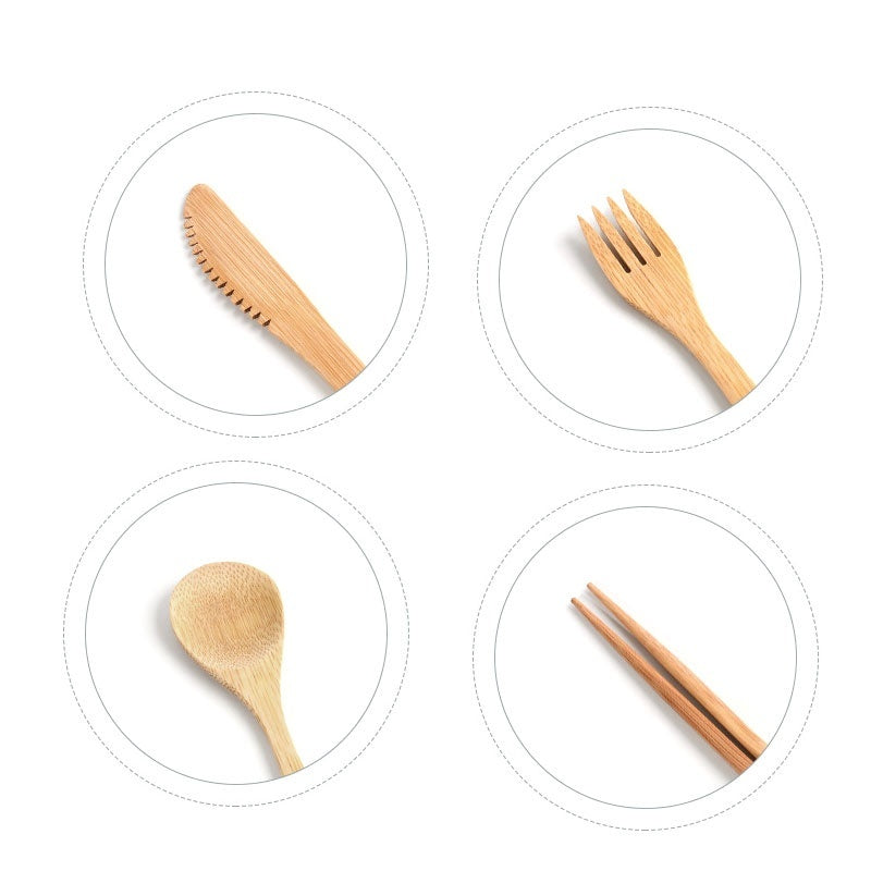 6Pcs/Set Bamboo Cutlery Set with Cloth Bag Wooden Fork&Knife Travel Picnic Tableware