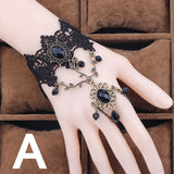 Party Jewelry Vintage Court Gothic Lace Bracelet Fashion Lace Bracelet Women's Gem Black Lace Bracelet Lace Red Rose Metal Bracelet Lace Bracelet and Ring Set Punk Dress with Halloween Ornaments