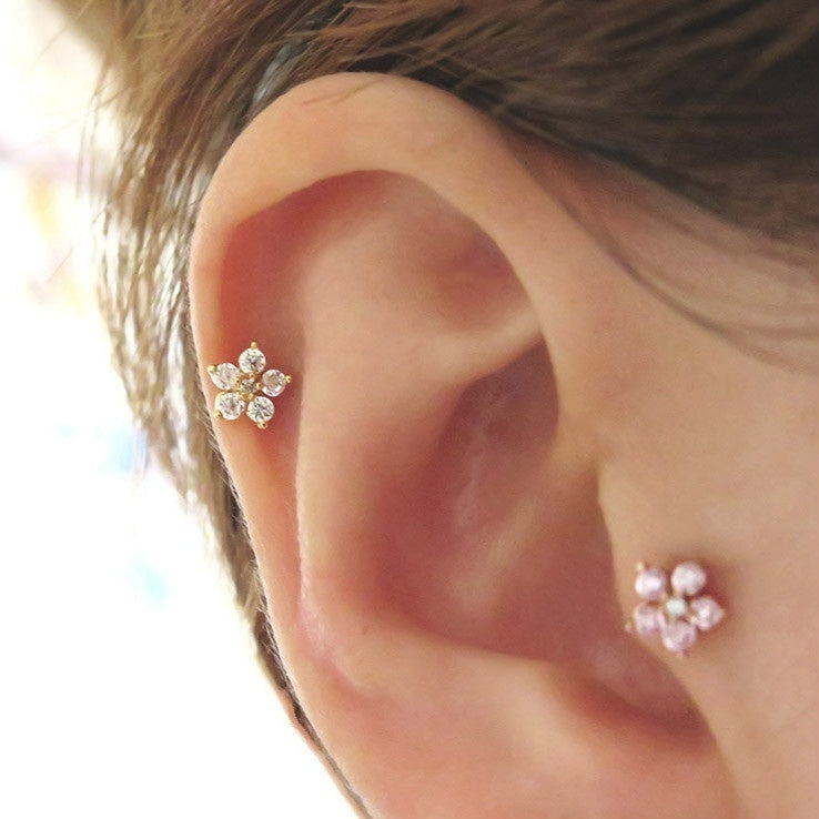 1PC Cartilage Earring Helix Earring Piercing Earring Tragus Earring Flower Zircon Earring (Color: Gold / Silver / Rose Gold)