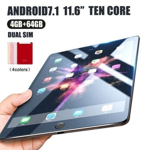 new black WiFi Tablet PC 2560*1600 IPS Screen 11.6\ Inch Ten Core 4G+64G  Android 7.1 Dual SIM Dual Camera Rear 13.0MP IPS