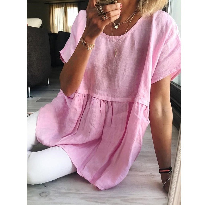 Ladies Fashion Casual Summer T-shirt Soild Color Round Neck Loose Shirt Pleated Short Sleeve Blouse Womens Plus Size Linen Tops XS-8XL