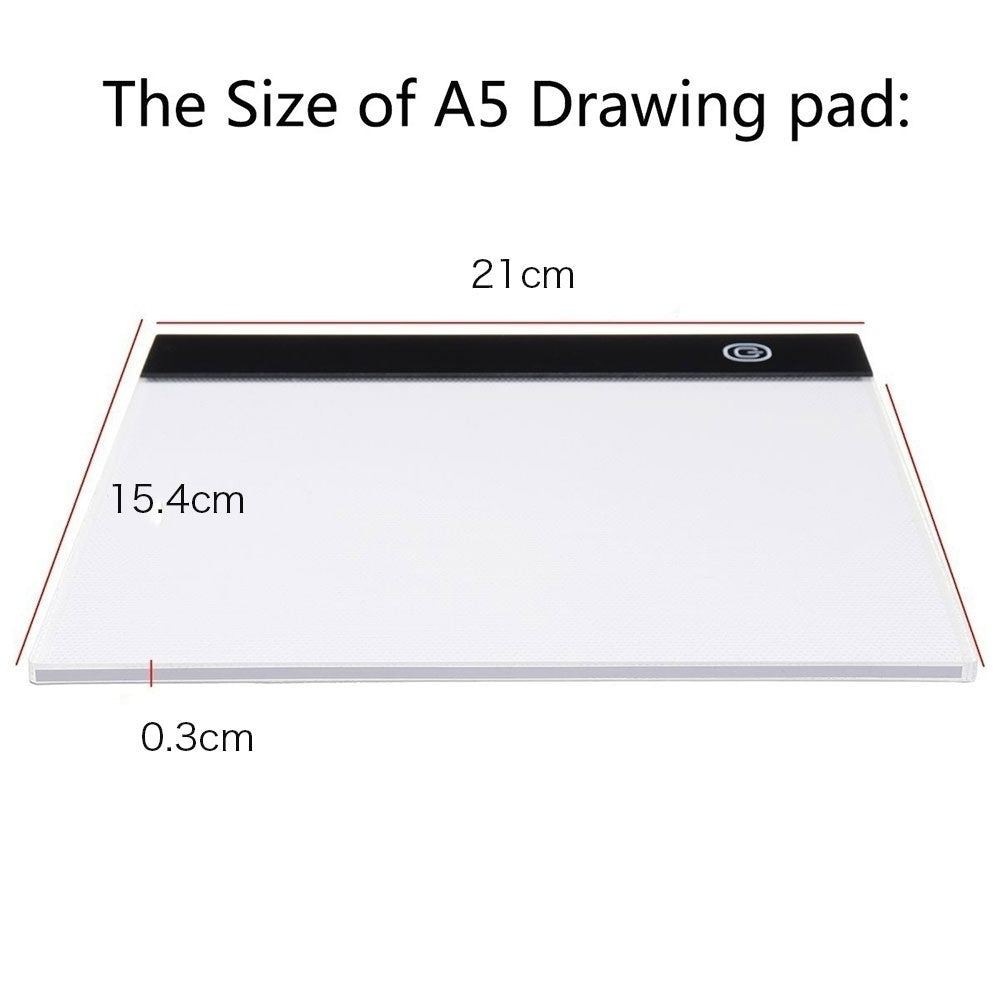 Super Slim A4/A5 Drawing Graphic Tablet IP65 Waterproof LED Light Box Tracing Copy Board Painting Writing Tablet for Diamond Painting & Painting Supplies Children Gifts