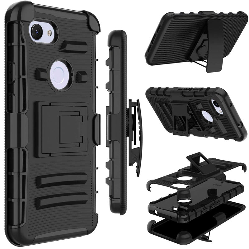 Google Pixel 3a Case , Heavy Duty Shockproof Full-Body Protective Hybrid Case Cover with Swivel Belt Clip and Kickstand for Google Pixel 3a / Pixel 3a XL Without Screen Protector