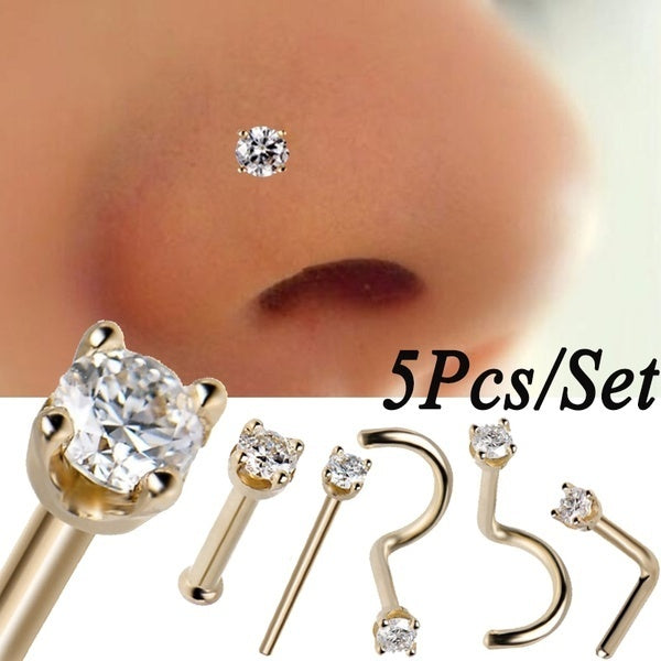 5Pcs/Set Surgical Steel Crystal Nose Ring Piercing Nose Stud Nose Piercing Nariz Diamond Women Body Piercing Jewelry Different Styles