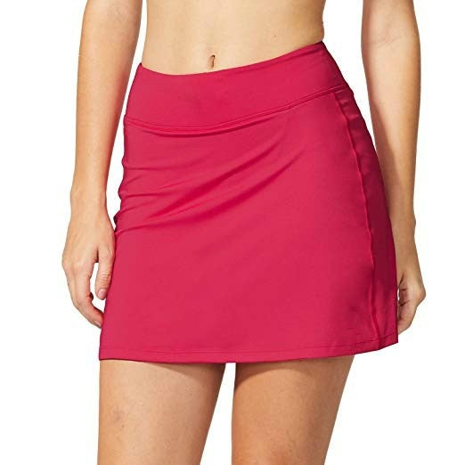 Women Summer Workout Running Skirt Tennis Skirt Pure Color Sports Shorts with Pocket