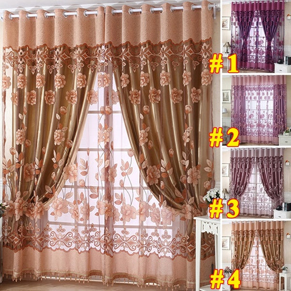 4 Colors 100x250cmModern Upscale Sheer Curtains Tulle Living Room Window Blackout Curtains Custom Home Decor