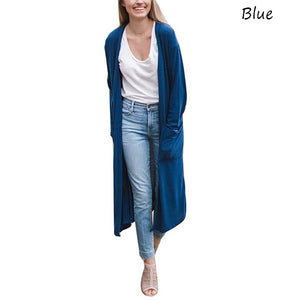 Autumn Fashion Women Clothing Pure Color Long Sleeve Thin Long Coat Outwear Open Front Cardigans S-5XL