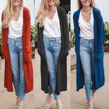 Load image into Gallery viewer, Autumn Fashion Women Clothing Pure Color Long Sleeve Thin Long Coat Outwear Open Front Cardigans S-5XL