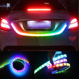 1 Set of 4 Color Flow Type LED Strip Tailgate Turning Signal Lights Bar Truck Strips RGB