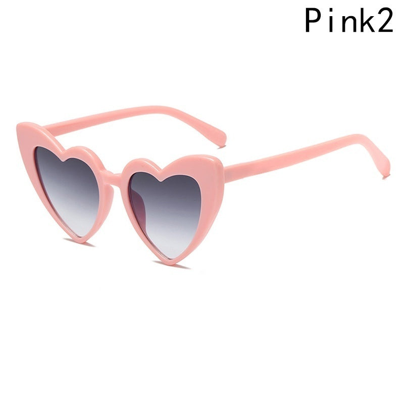 New Fashion Heart Shape Sunglasses for Women Cute Cat Eye Sun Glasses