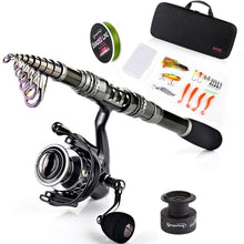 Load image into Gallery viewer, Fishing Rod Combos Carbon Fiber Telescopic Fishing Rod and 13+1BB Spinning Fishing Reel with Accessories Line for Travel Camping Outdoor Fishing Tackle Set