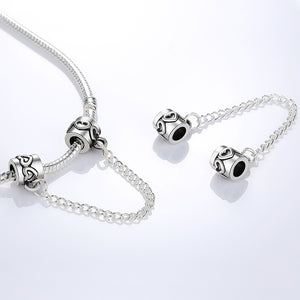 Silver Plated Bead Charm Vintage Love Heart Lock Safety Chain Beads Fit Women Bracelet