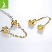Load image into Gallery viewer, Silver Plated Bead Charm Vintage Love Heart Lock Safety Chain Beads Fit Women Bracelet