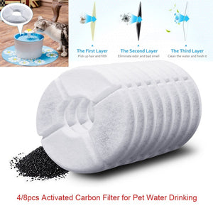 4/8pcs Filter Activated Carbon Filters Replacement for Fountain Cat Dog Pets Drink Water