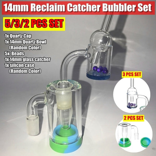 14mm 5/3/2/1PCS Oli Rigs Glass Reclaim Catcher Bubbler Quartz Banger Cap Beads