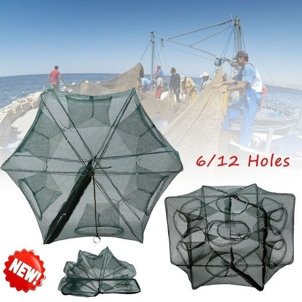 New 6/12 Holes Automatic Fishing Net Shrimp Cage Nylon Foldable Crab Fish Trap Cast