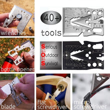 Load image into Gallery viewer, Survival Multitool 40+ Function Axe Card for Camping Gear, Hiking, Fishing, Climbing, Hunting, Wilderness Survival, Emergency Kit