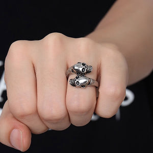 Fashion Gothic Stainless Steel Ring Men Punk Gold / Silver Skull Rings For Women Men Adjustable Ring Party Jewelry Halloween Decor Gifts