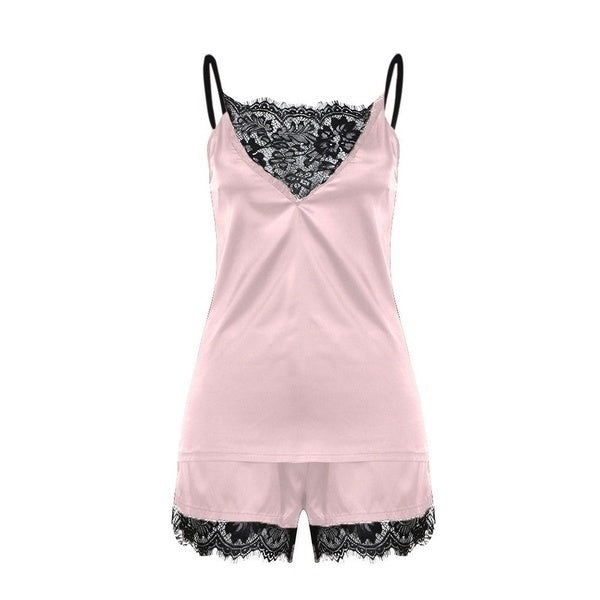 Two Piece Set Ladies Ice Silk Lace Patchwork Pajamas Set Black Lingerie Nightwear Spaghetti Strap Vest+Short Pants Sleepwear