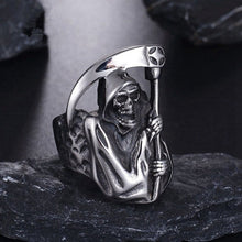 Load image into Gallery viewer, Vintage Gothic Punk Grim Reaper Skull Ring Stainless Steel Reaper'S Scythe Ring Party Biker Jewelry For Men Halloween Jewelry Gifts
