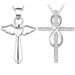 925 Sterling Silver Diamond Angel Wing Infinity Necklace Clavicle Chain Cross Pendant Angel Wing Wing Cross Necklace