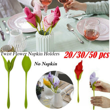 Load image into Gallery viewer, 20/30/50Pcs Bloom Napkin Holders for Table Plastic Twist Flower Serviette Holder(No Napkin)