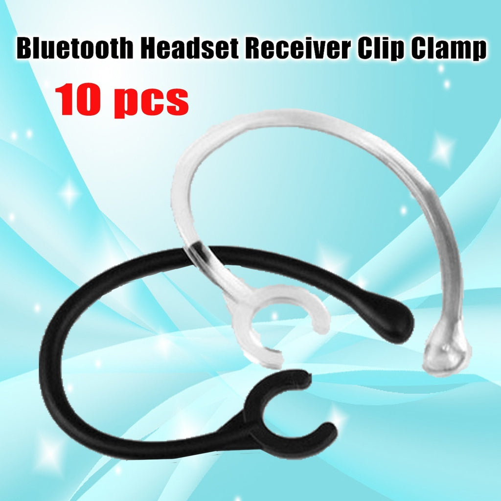 (Black+Clear) 10Pcs bluetooth Universal Headset Receiver Clip Clamp Holder EarHook Ear Loop Replacement