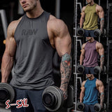 4 Color Summer New Men's Fashion Tank Top O-neck Casual Loose Sleeveless T-shirt 'RAW' Letter Print Solid Color Plus Size S-5XL