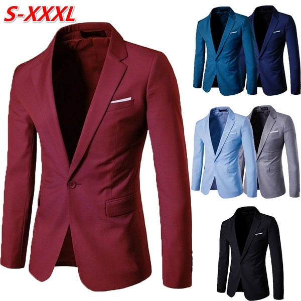 Mens Business and Leisure Suit Groomsman Wedding blazer A Grain of Buckle  Men's Suit Coat