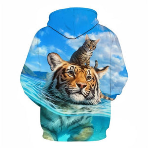 Men Women Unisex Casual Hoodie Funny 3D Hoody Print Tiger and Cats Long Sleeve Autumn Winter Tops Sweatershirt Teen Graphic Pullovers Cute Hoodies Funny Gifts